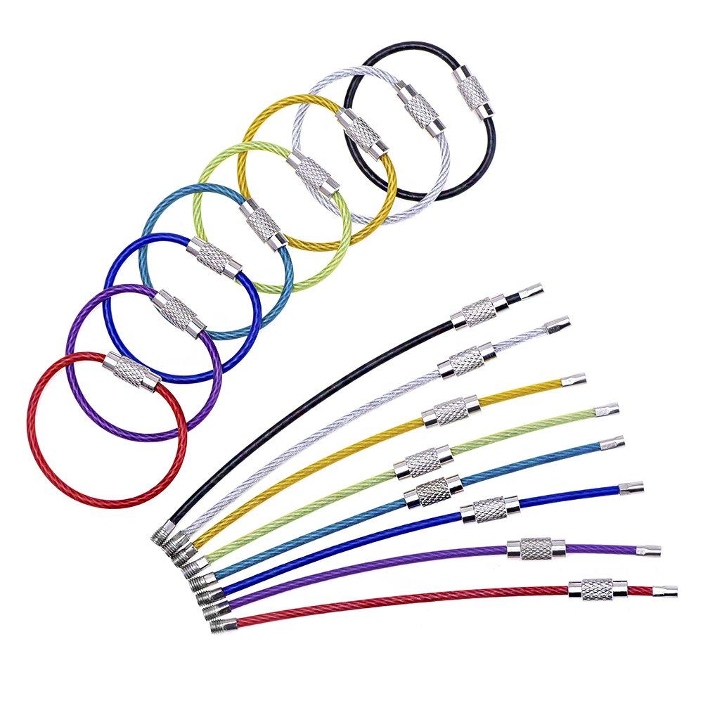 Fil Trousseau Porte Clés Câble Acier Inoxydable Anneau Coloré (2 mm, 4 Pouces, 16 Pack) eBoot