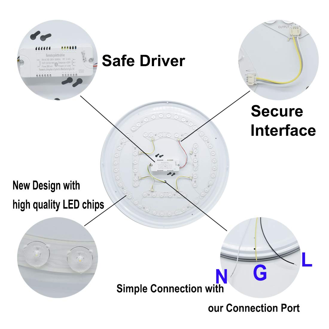 DLLT 48W Dimmable Led Flush Mount Ceiling Light Lighting with Remote-20 Inch Close to Ceiling Lights Fixture for Bedroom/Living Room/Dining Room, 3000K-6000K Color Changeable by DINGLILIGHTING (Image #4)