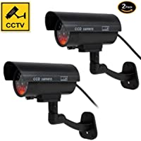 Dummy Camera, Fake Simulated Security Cameras Built in Light LEDs Flashing for Outdoor or Indoor Home and Business Surveillance Bonus CCTV Warning Sticker Decals