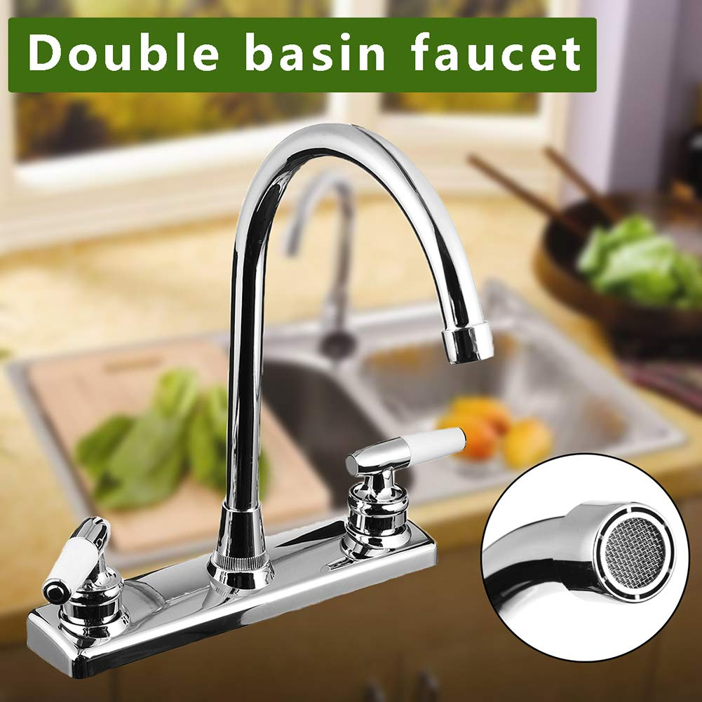 Faucet Maserfaliw Kitchen Faucet Dual Handles Hot Cold Basin Sink Mixer Tap for RV Mobile Home - Silver, Housewares, Offices, Outdoor, Holiday Gifts.