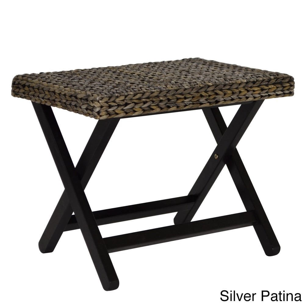 Gallerie Décor 21012-SIL Bali Breeze Folding Stool, One Size