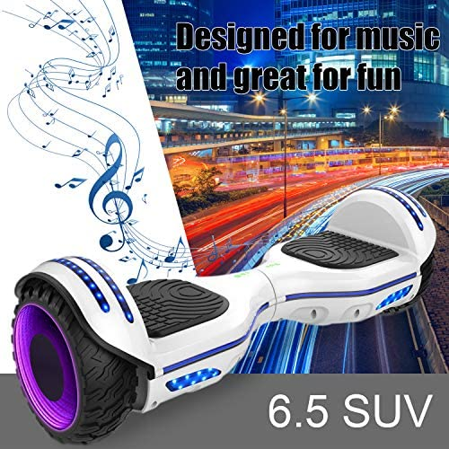 COLORWAY Overboard Hover Scooter Board Gyropode Bluetooth SUV 6.5 Pouces, Scooter Electrique Moteur 700W Tout-Terrain, Self-Balance Board avec Roues LED Flash, E-Scooter Auto-équilibrage