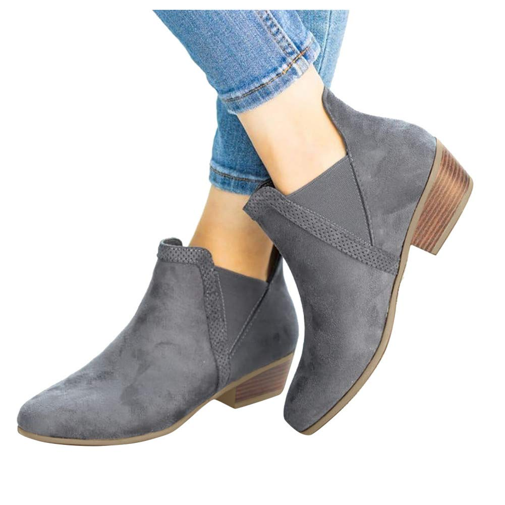 Gibobby Booties for Women with Heel Boots for Women Ankle Booties Low Heel Western Side Zipper Pointed Toe Solid Color Grey by Gibobby