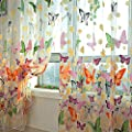 Hmane 1x2m Sheer Voile Butterfly Pattern Shade Curtain Offset Print Tulle Window Door Drape Curtain For Bedroom Living Room Balcony Coffee House 2 Panels