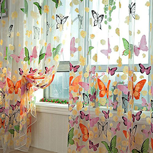 FenglinTech Translucent Curtains, 2Pcs 39.4x78.8 Butterfly Patterns Flocking Voile Tulle Window Curtain Sheer for Girl Room - Colorful (Butterfly Panel)