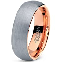 Tungsten Wedding Band Ring 7mm for Men Women Comfort Fit 18K Rose Gold Plated Domed Brushed