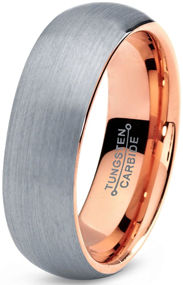 Tungsten Wedding Band Ring 7mm for Men Women Comfort Fit 18K Rose Gold Plated Domed Brushed Charming Jewelers CJCDN-334-B
