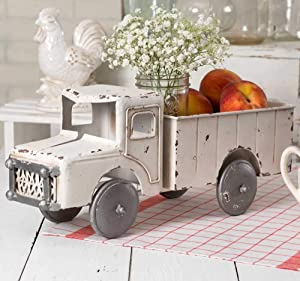 Vintage White Rustic Truck Planter Decorative Tabletop Storage