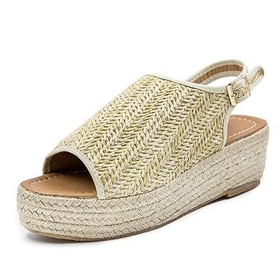 Blivener Espadrille Wedge Sandals Casual Summer Peep Toe Slingback Platform Sandals Shoes | Platforms & Wedges