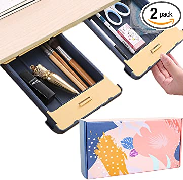 L /& S Gray /& White Pencil Drawers Hidden Paste Storage Drawers Self Adhesive 2-Pack Tray Pencil Tray ABS Plastic Hanging Desk Organizer Desktop Storage Set For Office School Home Desk Organizer