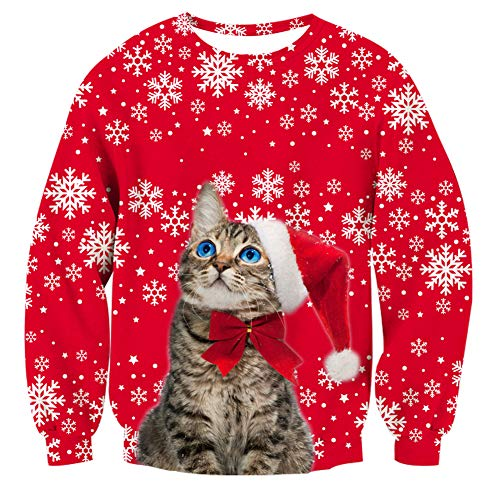 (RAISEVERN Unisex Ugly Christmas Cat Sweater Xmas Snowflake Crewneck Novelty Red Xmas Pullover Sweatshirt)