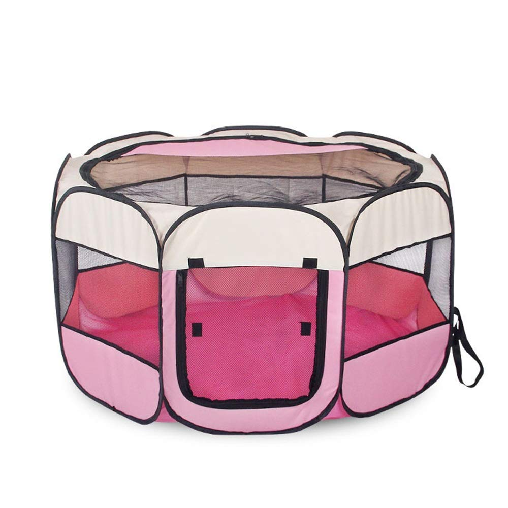 BYNLYY Pieghevole Tenda per Animali da Compagnia Ottagonale Pet Fence Oxford Cloth Outdoor Pet Cat Dog Cage Spazio privato (colore   rosa, Dimensioni   L.)