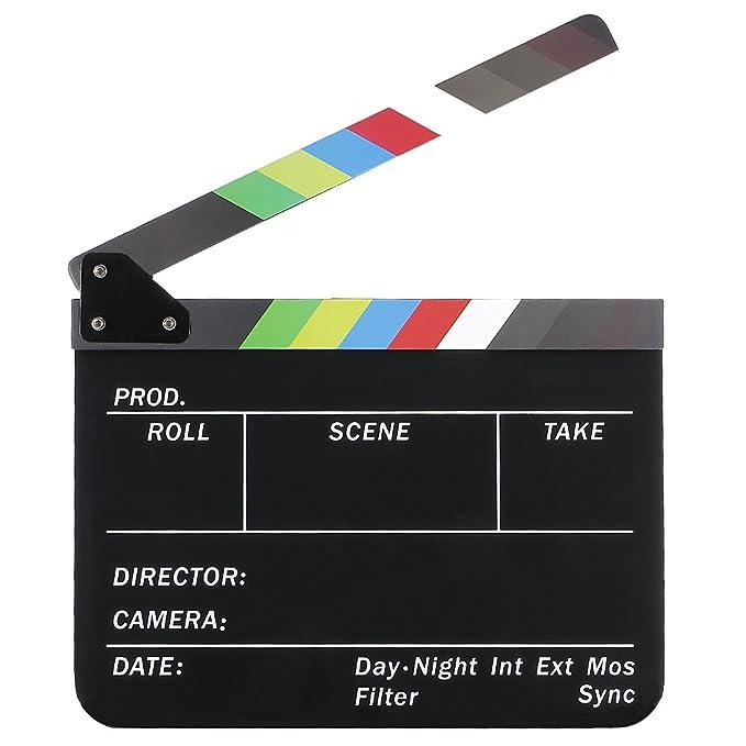 Neewer® acrílico plástico 10x12in/25x30cm tablilla de película Director cine, borrado en seco, Chapaleta Junta pizarra de parar Acción Escena ...