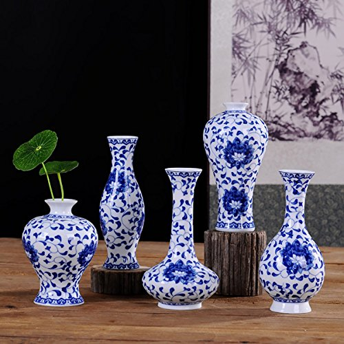 Beautiful Home and Office Decor Accent Chinese Fine Porcelain Decorative Vase 5 pcs (blue and white (Painted Pottery Vase)