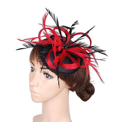 Fascinator Women Hat Flower Feathers Clip Cocktail Party Headwear Hats Party Derby Ball Banquet Festival Cap