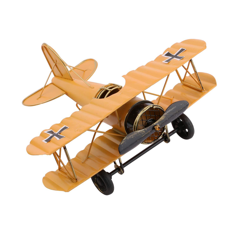 Dedoot Vintage Airplane Model Decorative Airplane Decor Wrought Iron Aircraft Biplane for Photo Props, Christmas Ornament, Desktop Decoration, Yellow