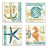 The Stupell Home Decor Collection Nautical and Beach Themed 4-Piece Square Wall Plaque Set