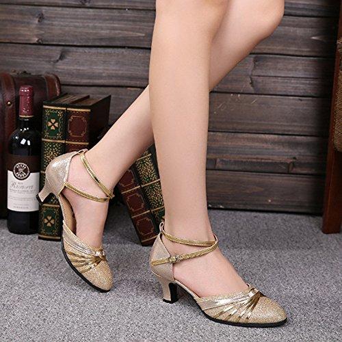 Zapatos de Latino de Tacón Estándar Mujer Dorado ZEVONDA Alto Gamuza Baile XqxYEngH