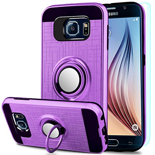 Galaxy S6 Case,Galaxy S6 Case with HD Screen Protector,Anoke Samsung S6 Cellphone 360 Degree Rotating Ring Holder Kickstand Scratch Resistant Drop Protective Cover for Galaxy S6 ZS Purple