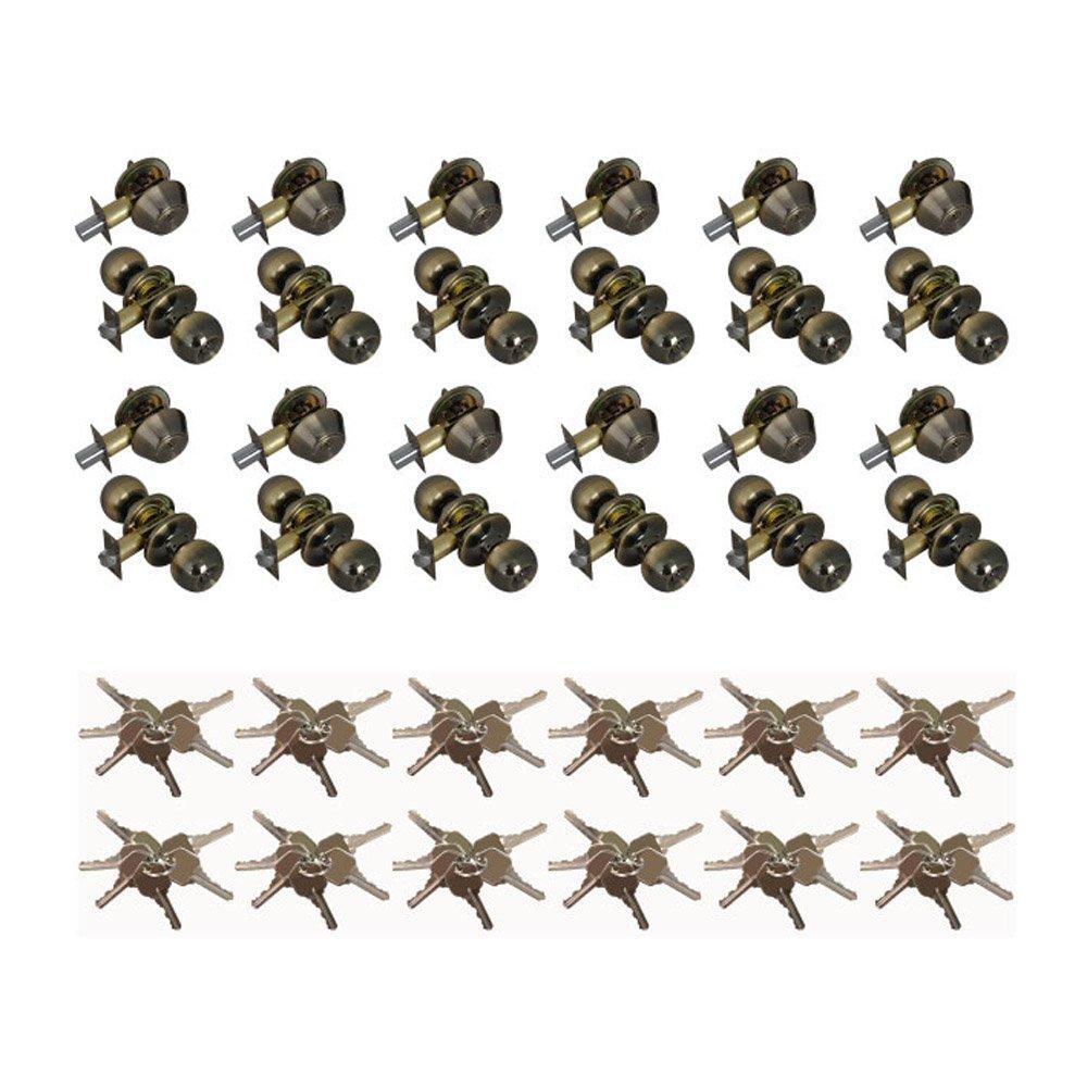 Grip Tight Tools ED04-12 Set of 12 Combo Entry Lock Set Door Knob & Deadbolt Keyed Alike KW1 Keyway, Antique Brass