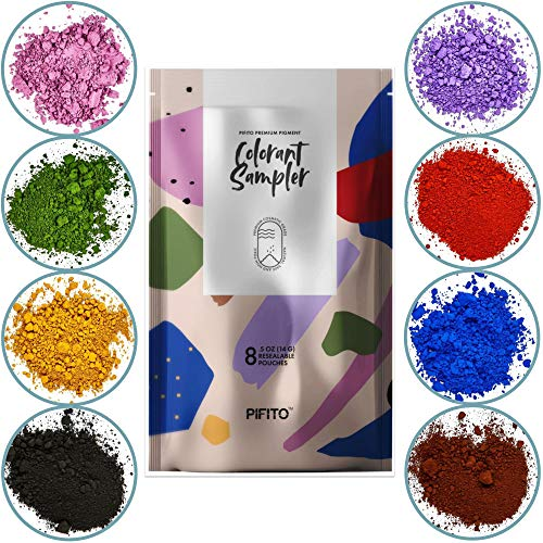 Pifito Oxide Pigment Colorants Sampler - 8 Beautiful Colors for Soap Making Supplies (.5 oz ea) - Red, Blue, Yellow, Pink, Green, Brown, Black, Violet - Bath Bombs Coloring - Blue Violet Yellow