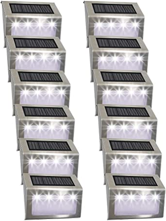 Luces Solares para Exterior Jardín 4LED Easternstar, Lámparas Solares impermeable, Iluminación exterior solar, panel solar del acero inoxidable,Utilizado para escaleras,jardín,patio,pared(10 paquetes): Amazon.es: Iluminación