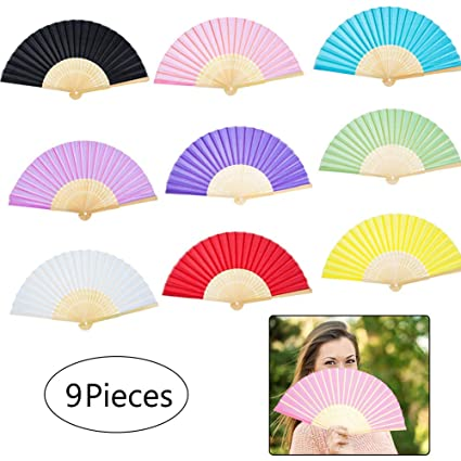 9 Colors Pack Bamboo Folding Fans Silk Fabric Folding Hand Held Fans Chinesejapanese Wooden Hand Fans Handheld Folding Fans For Women Wedding Party