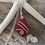 Handmade in Hawaii, wire wrapped Ruby red sea glass necklace, January Birthstone', (Hawaii Gift Wrapped, Customizable Gift Message)