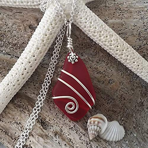 """Handmade in Hawaii, wire wrapped Ruby red sea glass necklace, January Birthstone"""", sterling silver chain, FREE gift wrap, FREE gift message, FREE shipping"""