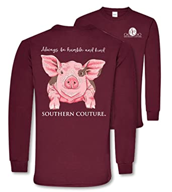 7252adf36fd Southern Couture SC Classic Humble   Kind Farm Pig on Long Sleeve Womens Classic  Fit T
