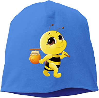 Reteone Fashion Solid Color Honey Bee Logo Warm Cap For Unisex Ash One Size