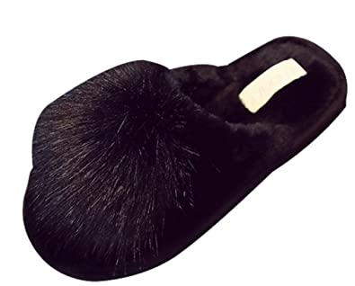 0bd47a42ada C wait Womens Pompoms Plush Warm Slippers Indoor House Home Slippers (4.5