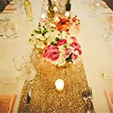 TRLYC 13 x 120 Inch Sparkly Gold Sequin Table Runner,Sequin Tablelcoth Gold