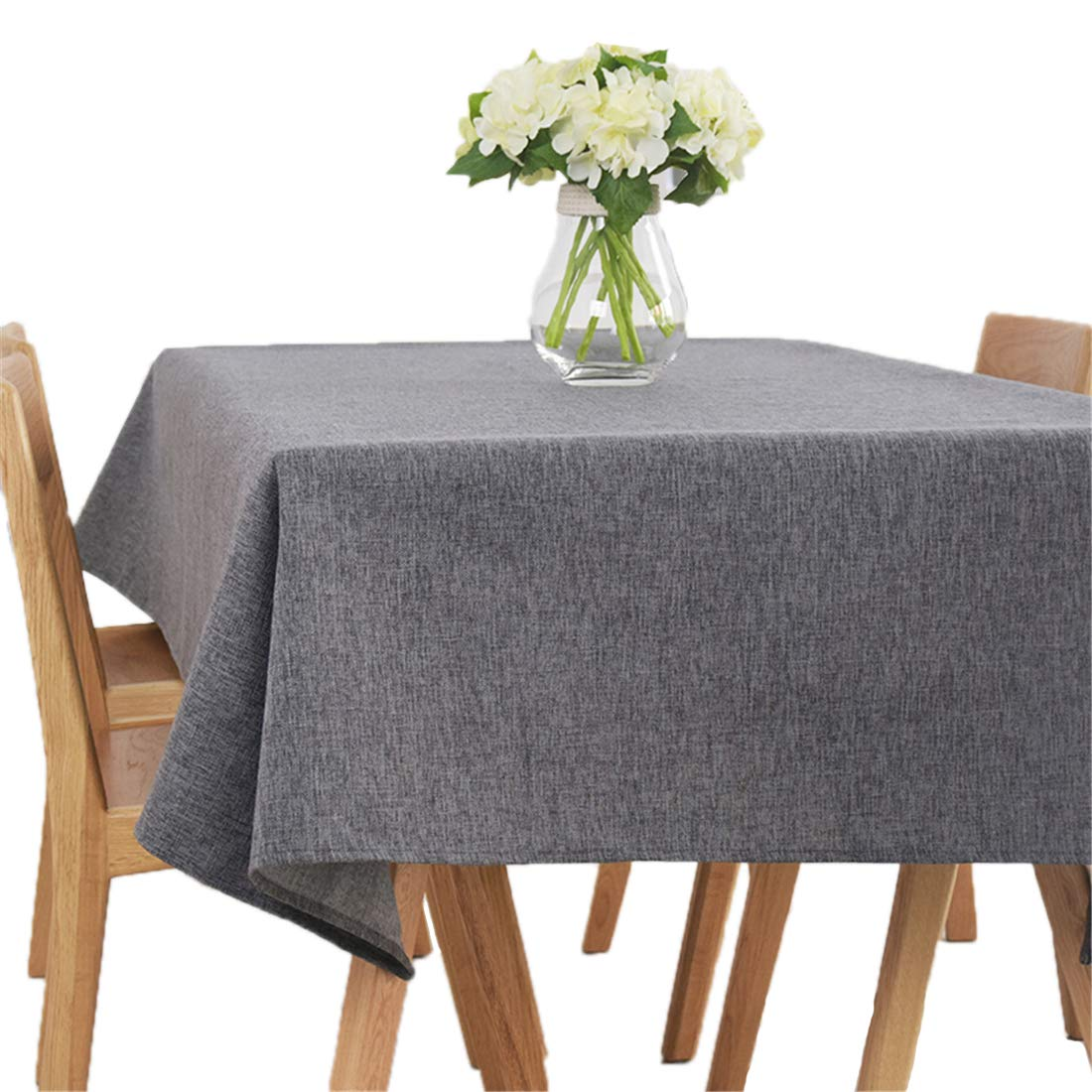Ethomes Simple Modern Plain Cotton Linen Solid Color Tablecloth Wedding Party Outdoor Barbecue Picnic Dark Grey Table Cover Approx 39x55inch 100x140cm