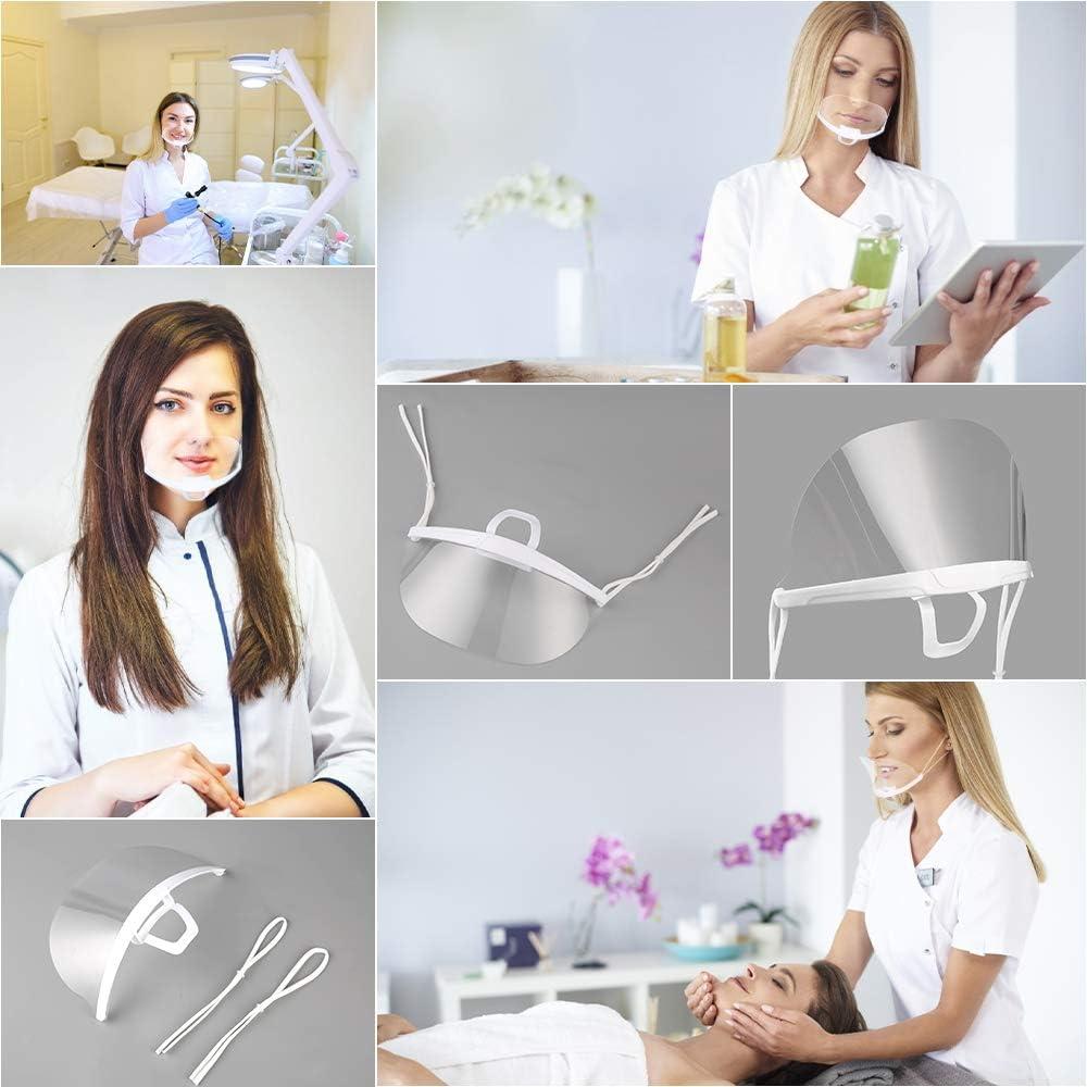 5 Piezas Boca Visera pantalla facial Cubierta de boca Lavable y reutilizable peluqueros transparente