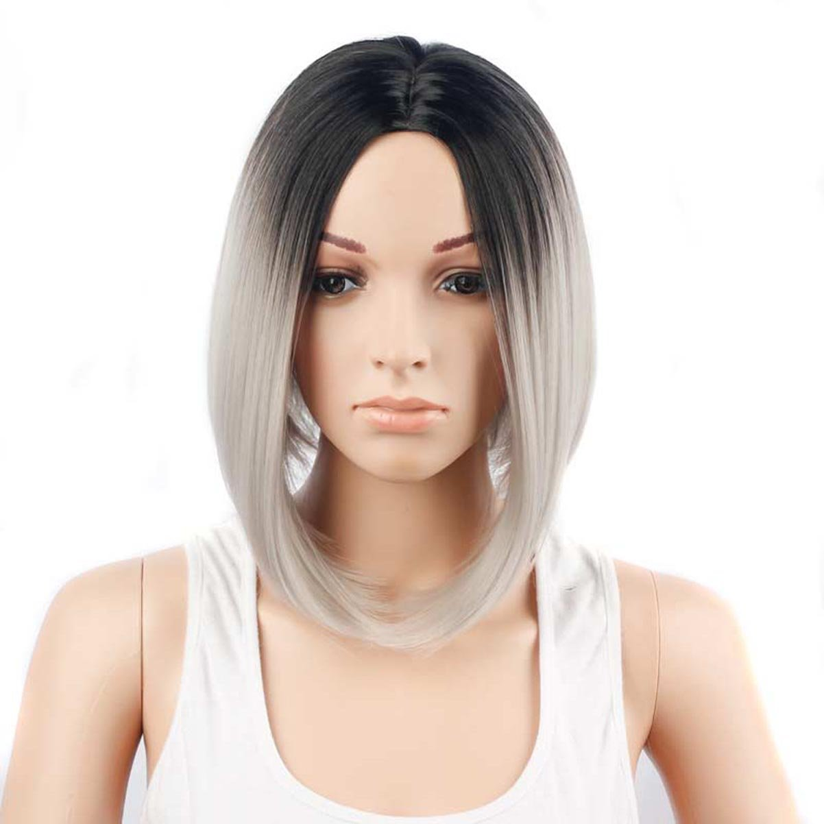 Peluca Corta Para Mujer , Corte Bob Productos De Pelo SintéTico Como Real Pelo - HaoXuan (Negro + gris) HaoXuan-123 M·SY Wig Cosplay