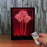 Ornerx 3D Illusion Lamp Photo Frame LED Night Light Roses