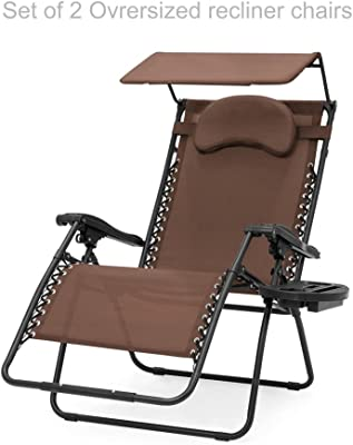 Oversized Extra Large Zero Gravity Chair Outdoor Patio Adjustable Recliner Comfortable Adjustable Padded Headrests W/Folding Canopy Shade and Cup Holder - Set of 2 Brown #1902