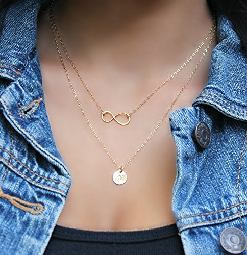 Layered infinity Initial Necklace, 14Kt Gold Filled personalized stamped disc Double chain Monogram Letter, 24k gold vermeil, two chains,2 chains 14kt Gold Double Link Necklace