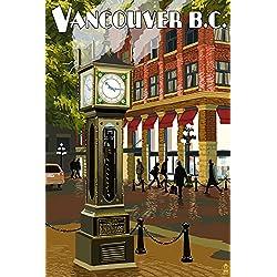 Vancouver, BC, Canada - Steam Clock (9x12 Art Print, Wall Decor Travel Poster)