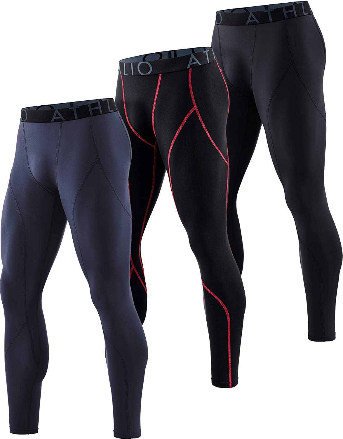 ATHLIO 1 or 3 Pack Men's Thermal Compression Pants, Athletic Running Tights & Sports Leggings, Wintergear Base Layer Bottoms