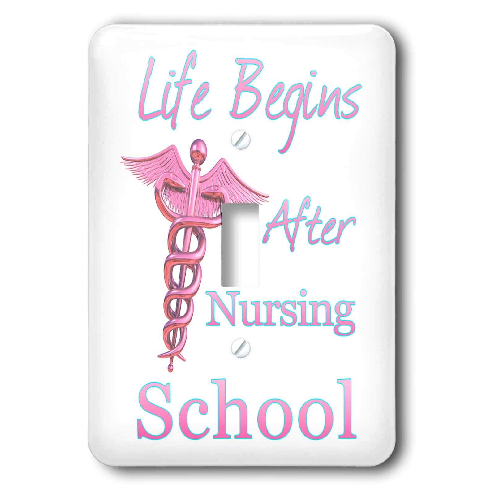 3dRose MacDonald Creative Studios – Nursing - Life Begins After Nursing School funny nursing gift for nurse graduate - Light Switch Covers - single toggle switch (lsp_295398_1)