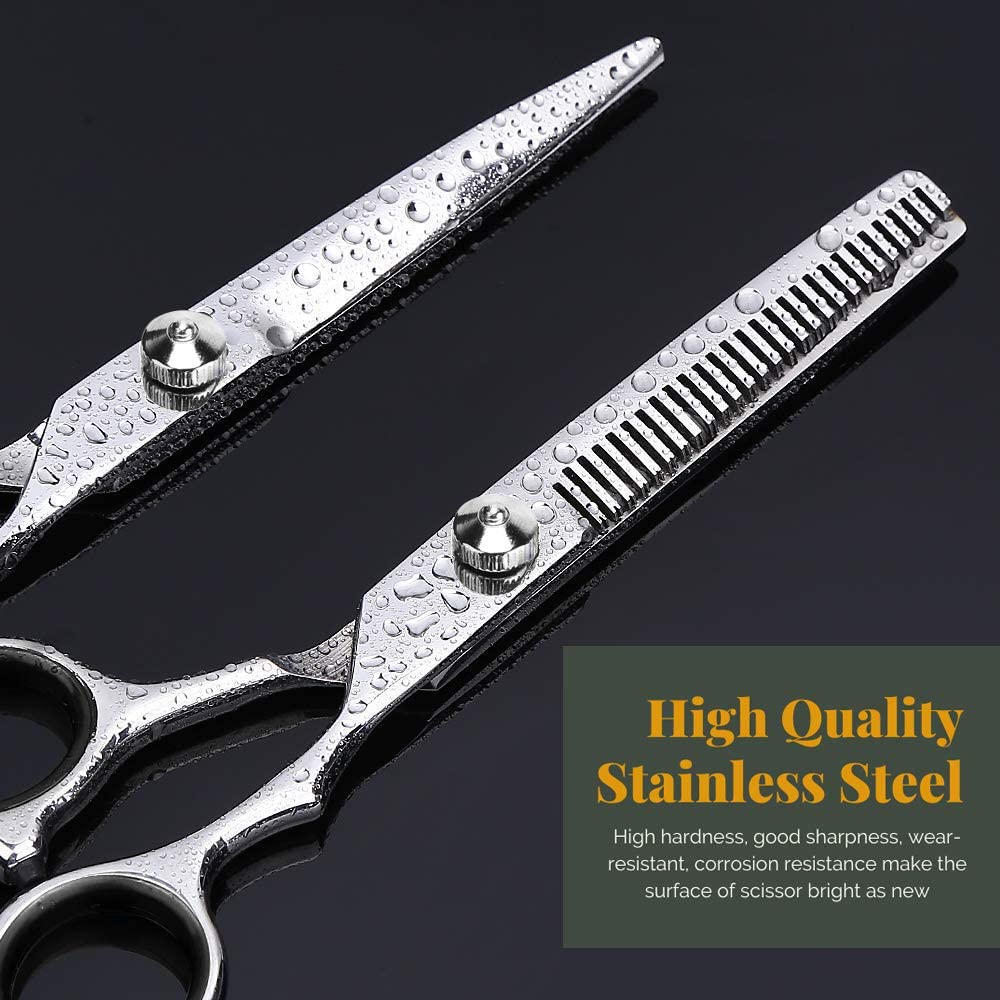 """Jetika Hair Cutting Scissors Thinning Shears Kit 11-piece Men Women Professional Hairdressing Texturizing Scissors Set Tool Stainless Steel with Razor Grooming Comb Haircut Cape Home Salon Barber 6.5"""": Home Improvement"""