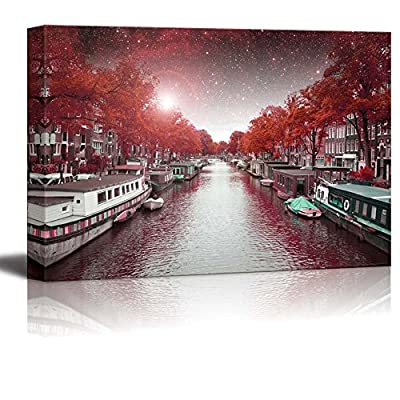 Canvas Prints Wall Art - Majestic Autumn Night in Amsterdam | Modern Wall Decor/Home Decoration Stretched Gallery Canvas Wrap Giclee Print & Ready to Hang - 12