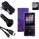 Accessories Kit with Screen Protector for Sony Walkman Digital Music Players NW-E390 Series, NW-E393, NW-E394 & NW-E395, Translucent Purple