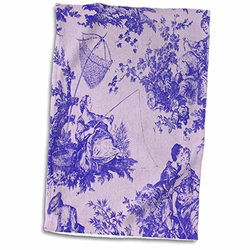 3D Rose French Farm Purple. Popular Toile Print Hand Towel 15