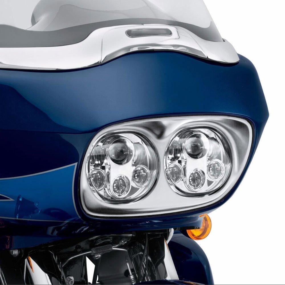 Chrome Dual LED Headlight for Harley Davidson Road Glide 2004 2005 2006 2007 2008 2009 2010 2011 2012 2013 Funlove