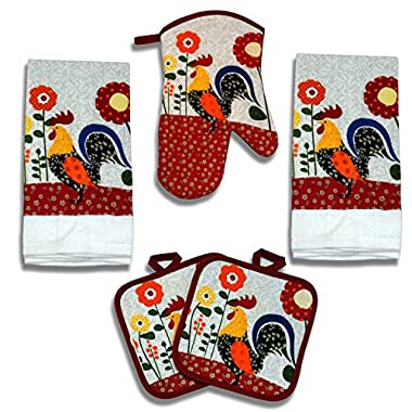 Quilted Rooster 5 Piece Kitchen Towel Set - 2 Towels, 1 Oven Mitt, 2 pot holders