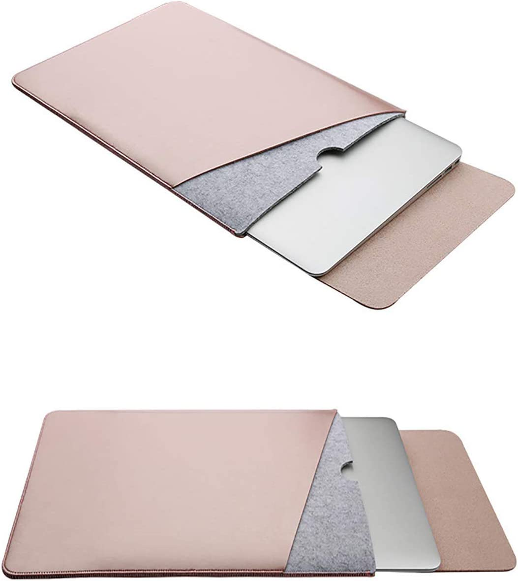Emoly PU Laptop Sleeve Case Cover for MacBook Pro and MacBook Air 13.3 Inches, Fits Model A1466/A1502/A1425 (Rose Gold)