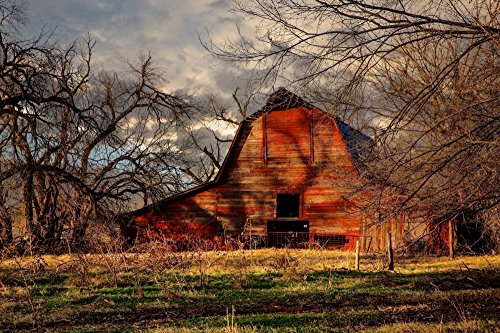 Rustic Red Barn Photography Print - Picture of Old Barn on Autumn Day Country Western Decor Wall Art Print for Home Decoration 5x7 to 30x45 by Southern Plains Photography